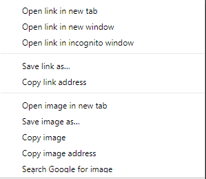 The right-click menu when invoked from an image.