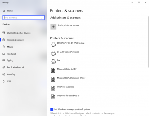 The Printers & Scanners screen in the systems settings.